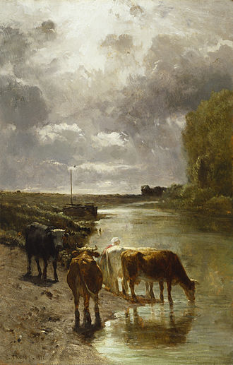 Constant Troyon - This painting of 1850 depicts 'Cattle drinking' on the banks of the Touques River in Normandy. The Walters Art Museum.