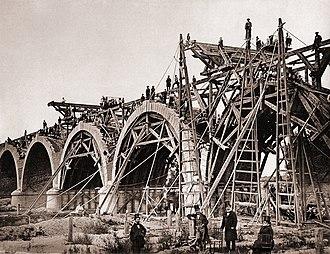 Puente de los Franceses (Madrid) - Construction of Puente de los Franceses, 1859.