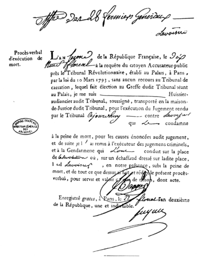 Copy of the death warrant of Lavoisier