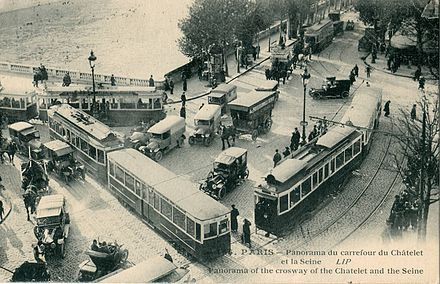 At its peak, the Paris tram system was the world's largest, with over 1,111 kilometres (690 mi) of track in 1925. Cormault 136 - PARIS - Panorama du Carrefour du Chatelet et la Seine.JPG