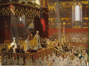 Coronation of the Russian monarch - Coronation of Tsar Nicholas II and Empress Alexandra Feodorovna in 1896. Nicholas' mother, Dowager Empress Maria Feodorovna can also be seen seated on the dias at left.