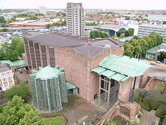 Coventry Cathedral - The new cathedral as seen from the tower of the old cathedral.