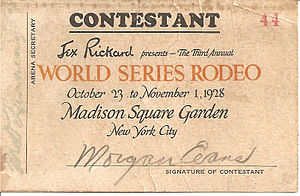 Madison Square Garden (1925) - Bulldogging champion Cowboy Morgan Evans competition chit at Madison Square Garden's 1928 World Series Rodeo