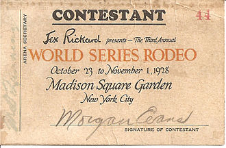 "National Cowboy & Western Heritage Museum - ""Cowboy Morgan Evans"" 1928 World Series Rodeo Contest entry chit"