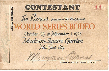 """Cowboy Morgan Evans"" 1928 World Series Rodeo Contest entry chit Cowboy Evans World Series Rodeo CONTESTANT.jpg"