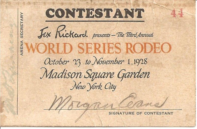 Cowboy Evans World Series Rodeo CONTESTANT