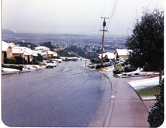 San Bruno, California - Rare snowfall in Crestmoor, February 5, 1976