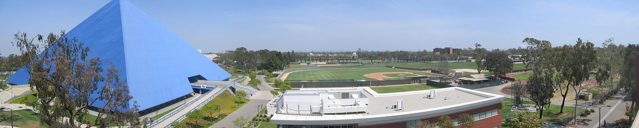 Panoramic view of the campus 39 s sports fields prior to the for Koi fish pond csulb