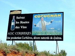 Corbières AOC - Humoristic sign along a road in the Corbières AOC area