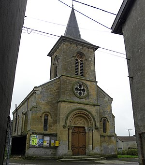 Cunel - Church in the village of Cunel, France. The steeple was a German machine gun post during the Meuse-Argonne Offensive.