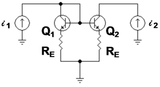 Two-port network -  Figure 3: Bipolar current mirror: i1 is the reference current and i2 is the output current; lower case symbols indicate these are total currents that include the DC components