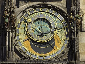 Astronomical clock - Face of the Astronomical Clock, in Old Town Square, Prague.