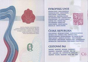 Czech passport - The inner pages of a contemporary Czech biometric passport