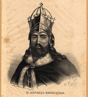 B&w lithograph of the 1st king of Portugal, D....