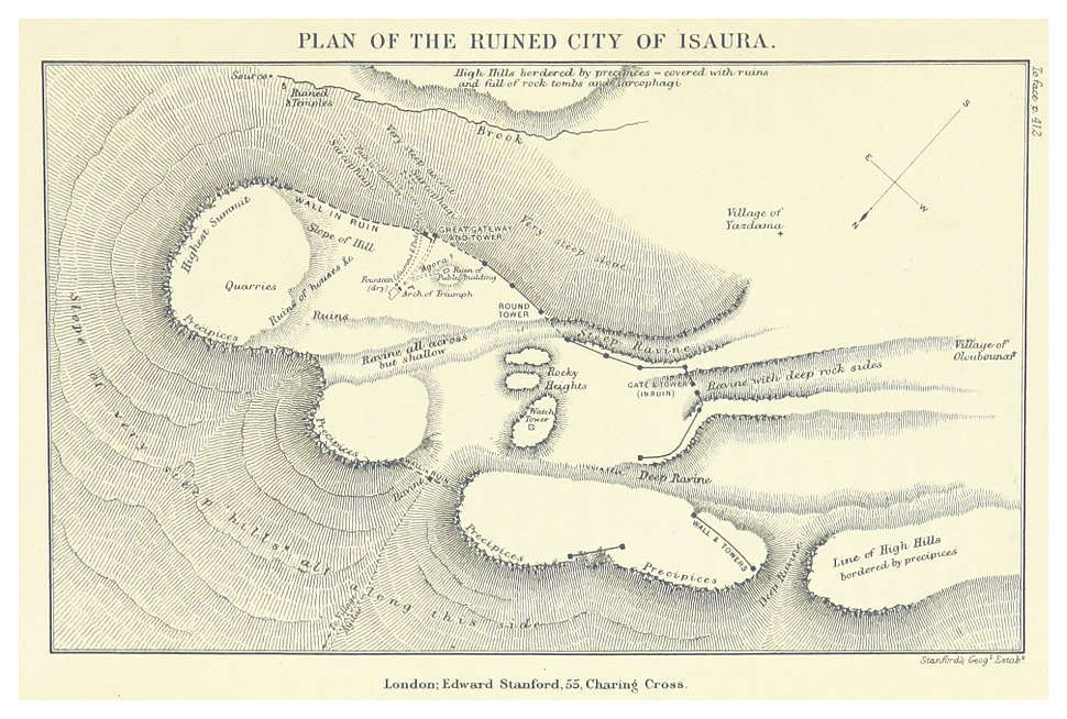DAVIS(1879) p469 PLAN OF THE RUINES OF THE CITY OF ISAURA