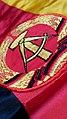 DDR - Staatsfahne mit Symbol Hammer und Zirkel - aus Kunstseide.jpg