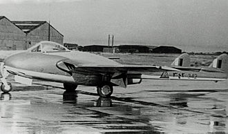 Iraqi Air Force - An Iraqi Air Force De Havilland Vampire FB.52, before delivery in 1953