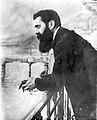 DR. THEODOR HERZL. חוזה המדינה, בנימין זאב הרצל, במרפסת בבאזל, שוייץ.D403-178.jpg