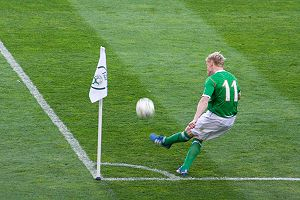 Damien Duff - Duff taking a corner for Ireland during a game against Serbia in 2008