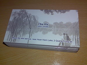 Name card with picture of Hoan Kiem lake