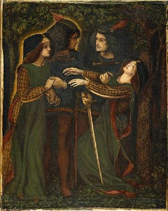 Doppelgänger - Dante Gabriel Rossetti, How They Met Themselves, watercolor, 1864