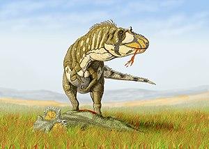 Un dasplétosaure, en train de manger un centrosaure.