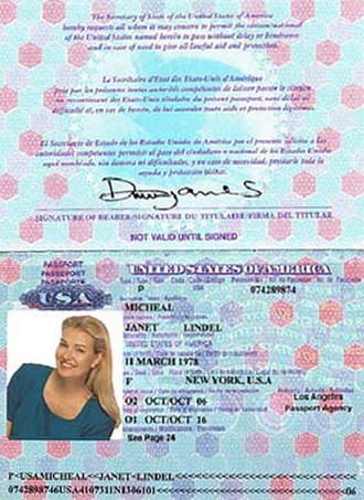 Romance scam - This falsified passport was used in an actual internet romance scam. The deception can be obvious to observers — for example, the photo on this passport does not comply with regulations for size or pose — but these signs are often ignored by victims.