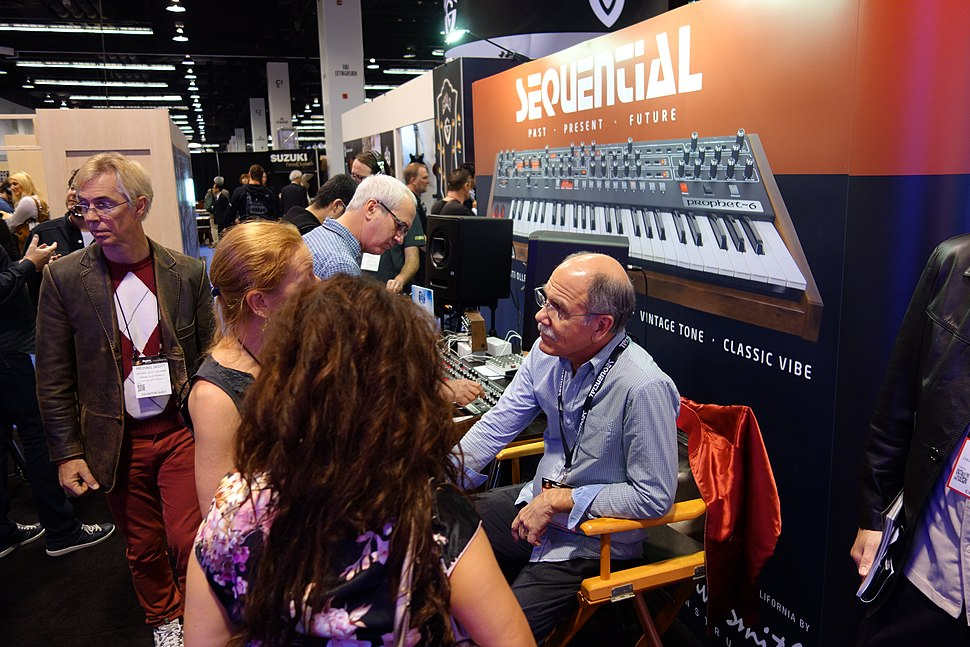 Dave Smith at Sequential booth - 2 - 2015 NAMM Show