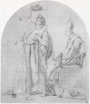 The Coronation of Napoleon - Sketch of emperor Napoleon crowning himself. Drawing by David, kept at the Louvre.