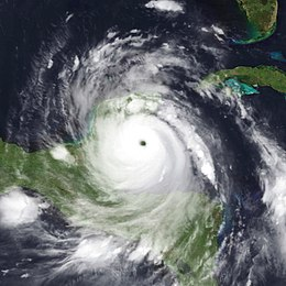 A view of Hurricane Dean from Space on August 20, 2007. Dean is a mature and well-developed hurricane, with a pronounced eye and well-defined banding features. The storm is located south of Cuba and east of the Yucatan Peninsula.