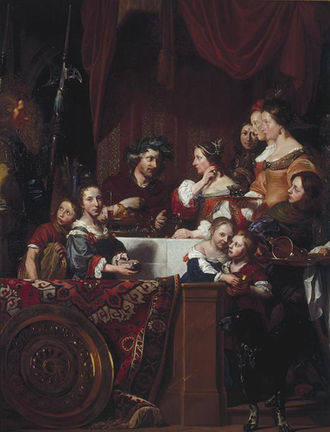 1669 in art - Jan de Bray (left) and his family pose as The Banquet of Antony and Cleopatra. By the date of this second version of 1669, most of the models had died of the plague some years before.