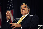 Defense.gov News Photo 110816-F-RG147-148 - Secretary of Defense Leon E. Panetta responds to a question from the audience during a televised conversation with Secretary of State Hillary.jpg