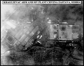 NATO bombing of Yugoslavia - Post-strike bomb damage assessment photo of Zastava car plant.
