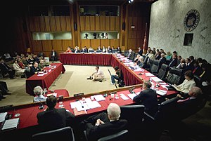 United States congressional committee - The Senate Armed Services Committee hearing a testimony in the Hart Senate Office Building in 2007.