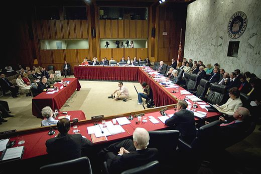 The Senate Armed Services Committee hearing testimony in the Hart Senate Office Building in 2007. Defense.gov photo essay 070731-N-0696M-301.jpg