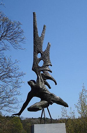 "Englandspiel - Titus Leeser's ""Englandspiel Monument"" or The Fall of Icarus in The Hague memorializes the 54 agents who were dropped into the Netherlands during Das Englandspiel.  The inscription says, in part ""They jumped to their death for our freedom."""