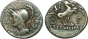Servilia (mother of Brutus) - Servilia on a silver Denarius