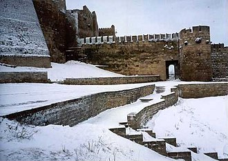 Derbent - Picture of Derbent's fortress during winter.