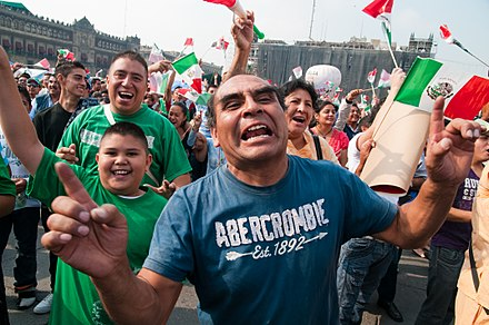 Mexico national football team supporter reacts emotionally to a disallowed goal in a Mexico v. South Africa game, 2010 Desde el Zocalo Gol Anulado From Downtown Mexico City Disallowed Goal (4691267556).jpg