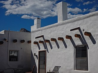 National Register of Historic Places listings in Colfax County, New Mexico - Image: Detail, Side Patio, Casa del Gavilan, near Cimarron, NM