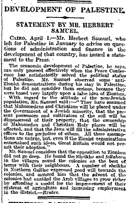 Development Of Palestine. Statement By Mr. Herbert Samuel. The Times, Monday, Apr 05, 1920