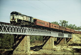 Tablelands railway line, Queensland - QR loco 1760 hauls a special train on the Mareeba-Almaden section of the Mungana line, September 1989