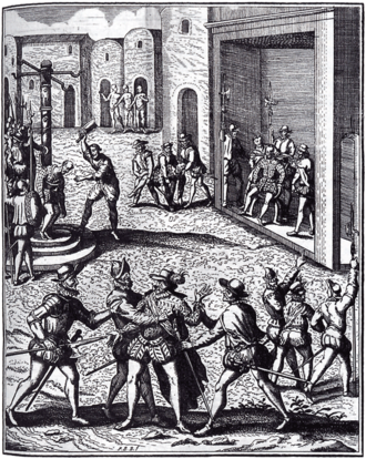 Capture and execution of Diego de Almagro in Cusco. Engraving, circa 1600 Diego-de-Almagro.png