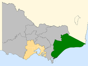 Gippsland by-election, 2008 - Gippsland (green) within Victoria.