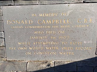 Donald Campbell - Memorial plaque for Donald Campbell, in Coniston village