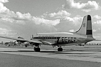 History of Iberia (airline) - Douglas DC-4 in 1954 wearing the titles Iberia Líneas Aéreas Españolas