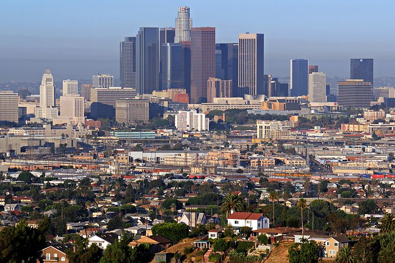 The skyline of downtown Los Angeles on a summer morning