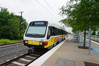 Blue Line (Dallas Area Rapid Transit) light rail line in Dallas, Texas (USA)
