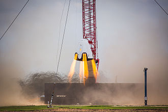 Dragon 2 - Dragon 2 spacecraft conducting a propulsive hover test
