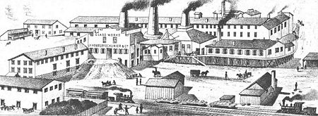 old drawing of big factory with multiple buildings and railroad